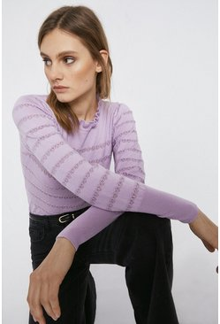 Lilac Stripe Pointelle Ruffle Neck Jumper