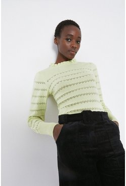 Pale green Stripe Pointelle Ruffle Neck Jumper