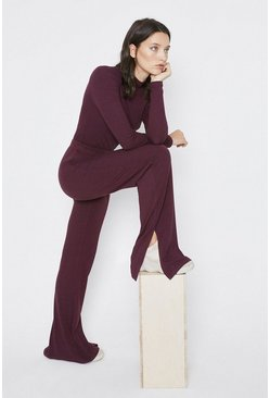 Berry Premium Rib Wide Leg Trouser