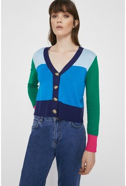 Blue Colour Block Cropped Crew Cardigan