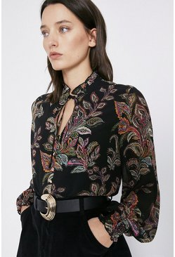 Black Paisley Tie Neck Blouse
