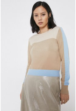 Camel Tonal Colour Block Crew Jumper
