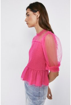 Bright pink Tulle Puff Sleeve Top