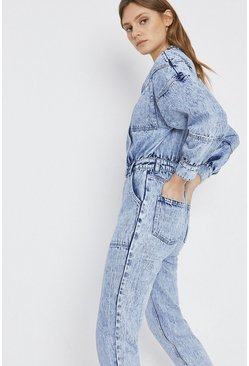 Blue Denim Acid Wash Jumpsuit