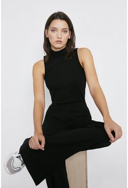 Black Premium Rib Sleeveless Funnel Neck Top
