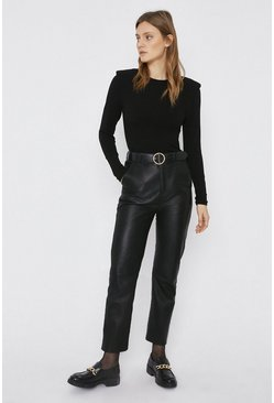 Black Compact Rib Lip Shoulder Top