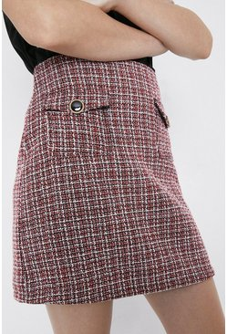 Red Tweed Patch Pocket Pelmet Skirt