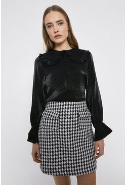 Black Dogstooth Patch Pocket Pelmet Skirt