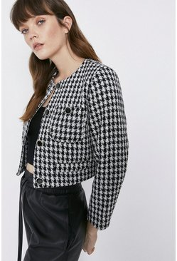 Black Dogstooth Crop Jacket