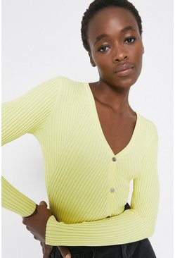 Lemon Long Sleeve Knitted Rib Cardigan