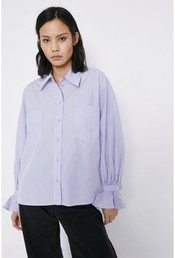 Blue Stripe Frill Cuff Shirt