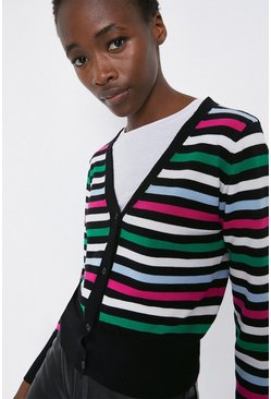 Multi Stripe V Neck Cardigan