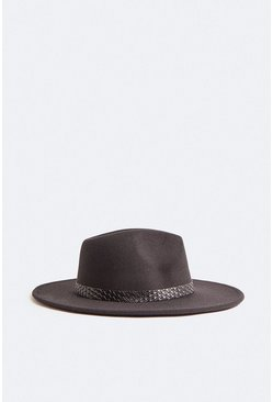 Black Fedora Buckle Detail Hat