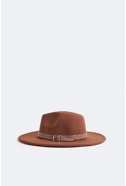 Chocolate Fedora Buckle Detail Hat