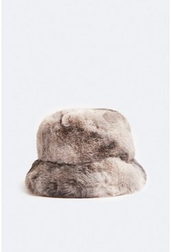 Grey Faux Fur Tie Dye Bucket Hat