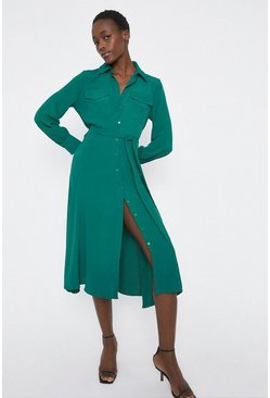 Green Soft Belt Pocket Detail Midi Shirt Dress