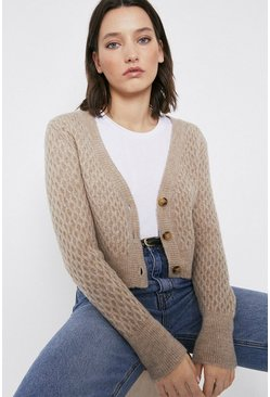 Oatmeal Honeycomb Cropped Cardigan