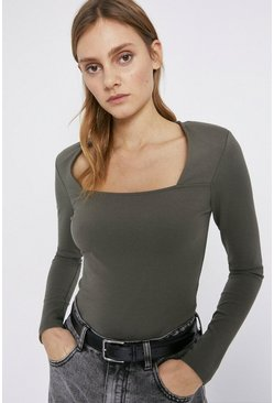 Khaki Shoulder Pad Square Neck Ponte Top