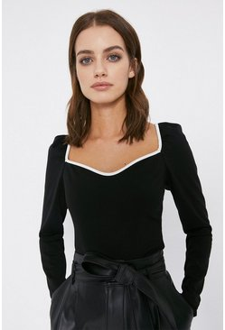 Black Contrast Tipped Long Sleeve Ponte Top
