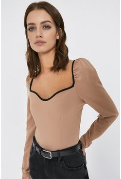 Camel Contrast Tipped Long Sleeve Ponte Top