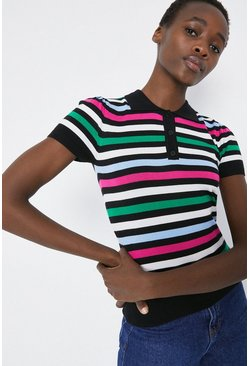 Multi Stripe Puff Sleeve Knitted Polo