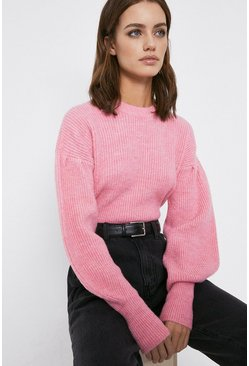 Baby pink Cosy Cropped Funnel Jumper