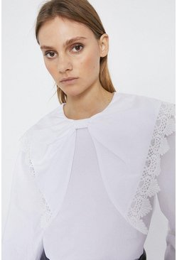 White Oversized Bow Lace Trim Blouse