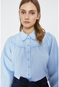 Blue Frill Yoke Puff Sleeve Cotton Blouse
