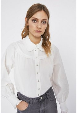 White Frill Yoke Puff Sleeve Cotton Blouse