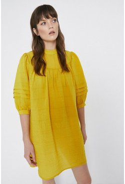 Mustard Puff Sleeve Yoke Mini Dress