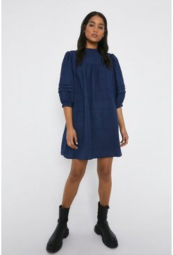 Navy Puff Sleeve Yoke Mini Dress