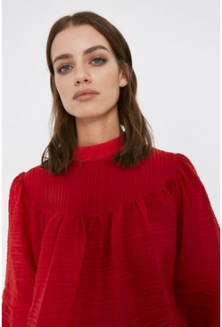 Red Puff Sleeve Yoke Detail Top