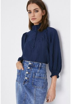 Navy Button Front Yoke Detail Blouse