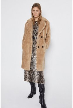 Biscuit Double Breasted Midi Teddy Coat