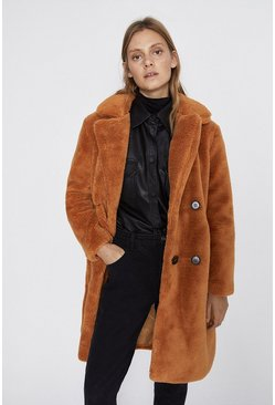 Cinnamon Double Breasted Midi Teddy Coat
