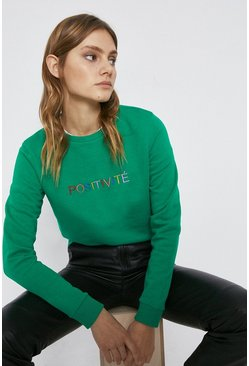Green Positivite Slogan Sweat