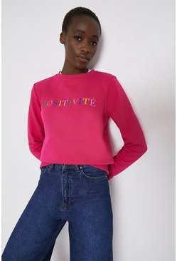 Hot pink Positivite Slogan Sweat