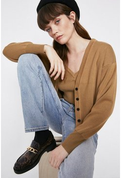Camel Button Through Cardigan