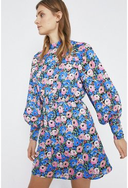 Blue Bold Floral Big Sleeve Mini Dress