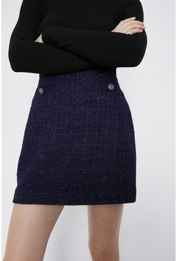 Navy Tweed Pelmet Skirt