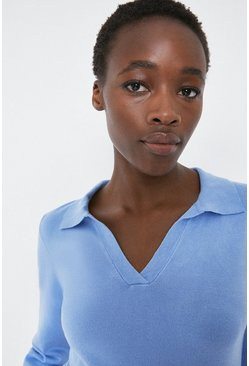 Powder blue Plain Collar Detail Jumper
