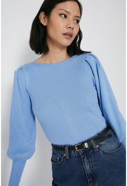 Blue Ribbed Slash Neck Puff Sleeve Jumper