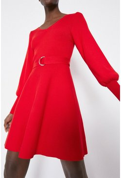 Red Ribbed V Blouson Dress