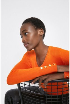 Orange V Neck Jumper