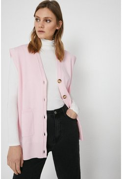 Pink Sleeveless Cardigan