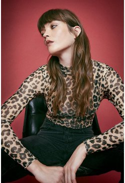 Animal Printed Funnel Neck Top