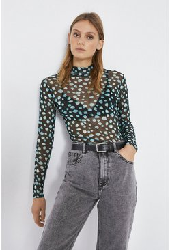 Black Printed Funnel Neck Top