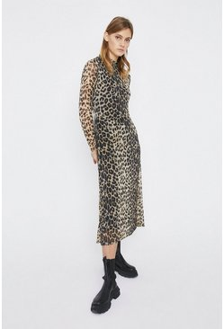 Animal Printed Mesh Funnel Neck Midi Dress