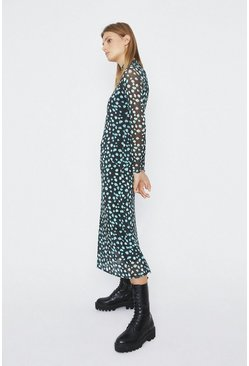 Black Printed Mesh Funnel Neck Midi Dress