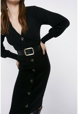 Black Belt Detail Cardigan Dress